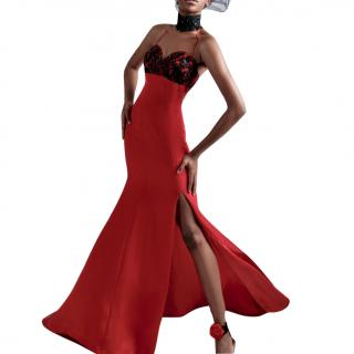 Danny Tang Red Satin Black Lace beading Evening Gown