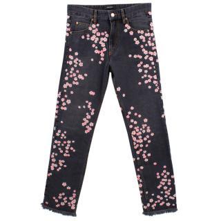 Isabel Marant Grey Floral Embroidered Jeans