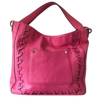 Milly New Hot Pink Leather Sydney Whipstitch Shoulder Bag