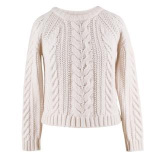 Anine Bing Cream Cold-Shoulder Wool-Blend Sweater