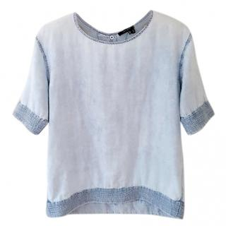 Theyskens Theory blue button up top