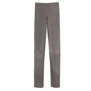 Joseph Panelled Grey Leather Leggings
