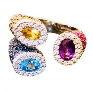 Bespoke Diamond, Sapphire, Citrine and Ruby 18k White Gold Zen Ring