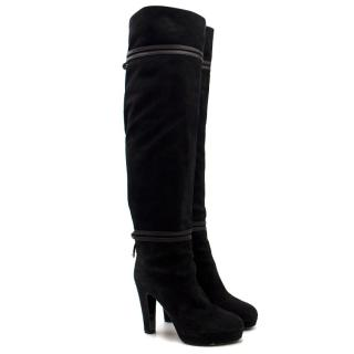 Sergio Rossi Black Suede Over the Knee Boots