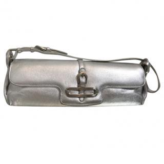 Jimmy Choo Metallic Silver Leather Tulita Clutch Bag