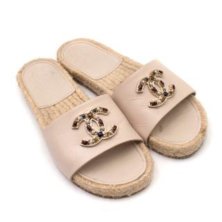 Chanel CC Jewel Logo Espadrille Slides