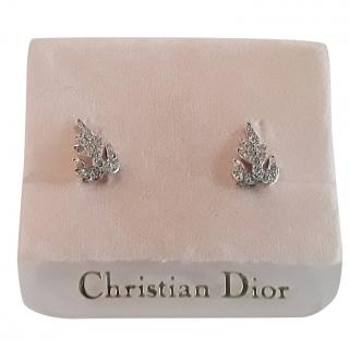 Christian Dior Silver Plated Vintage Clip-On Earrings