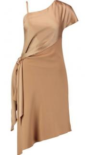 Carven One-Shoulder Satin & Crepe Dress