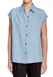 Alice + Olivia Oren chambray cuffed sleeve faded blue denim shirt