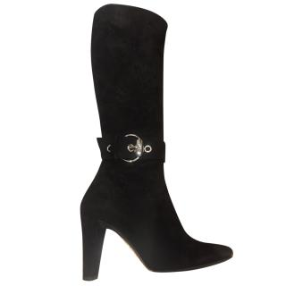 Gucci black suede high heel boots