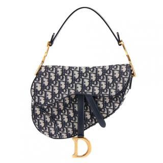 Dior Current Season Blue Monogram Saddle bag