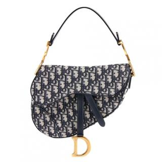 Dior Current Season Blue Monogram Saddle bag