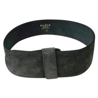 Azzedine Alaia Vintage Grey Calf Suede Leather Belt