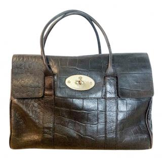Mulberry Chocolate Croc Embossed Bayswater Tote