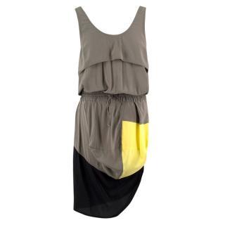 Alexander Wang Khaki Colour Block Dress