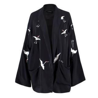 The Kooples Black Silk Bird Print Kimono Jacket