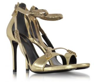 Roberto Cavalli Metallic Gold Snake Print Sandals