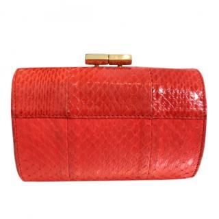 Jimmy Choo Coral Python Skin Clutch Bag