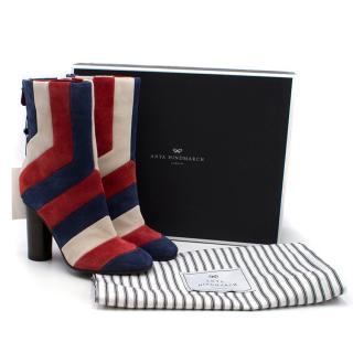 Anya Hindmarch Suede Arcade Stripe Boots
