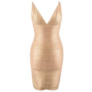 Herve Leger Gold Foiled Bandage Dress