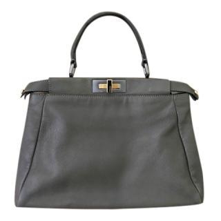 Fendi Dark Green Roman Leather Peekaboo Bag