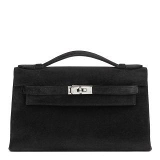 Hermes Veau Doblis Black Kelly Pochette Bag