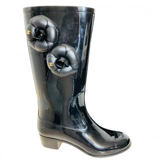 Chanel Black Camellia Wellington Boots