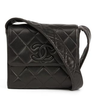 Chanel Vintage Quilted Leather Black CC Flap Bag e3acfe50dee51