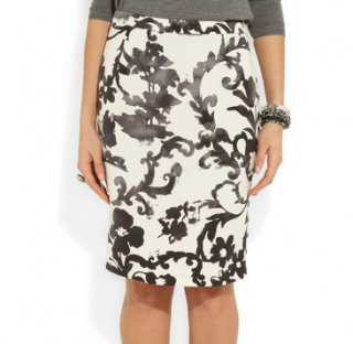 Moschino Cheap & Chic cream & black floral print pencil skirt