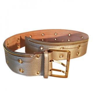 BARBARA BUI leather beige metallic waist cinch belt gold hardware