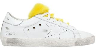 Golden Goose Deluxe Superstar Low Tops with Yellow Fur Trim
