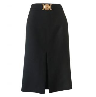 Versace Black Medusa Buckle Pencil Skirt