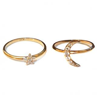 Zoe & Morgan Diamond Moon & Star Rings Gold