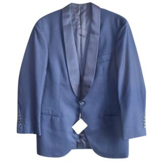 Brunello Cucinelli dark blue 100% cashmere satin trim blazer