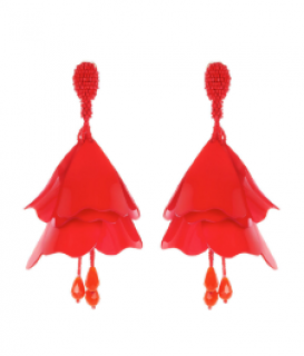Oscar De La Rental Red Impatien flower clip earrings