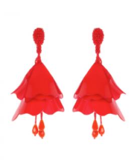 Oscar De La Rental Red Impatien flower clip earrings
