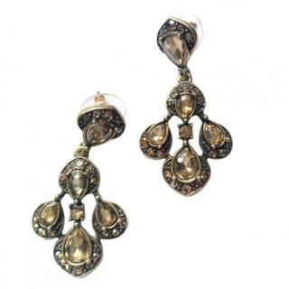 Oscar De La Renta Gold Crystal Tear Drop Stud Earrings