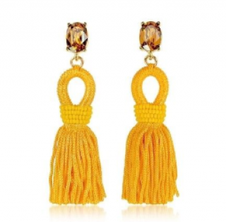 Oscar De La Renta Yellow Silk Beaded Crystal Tassel Clip Earrings