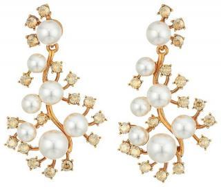 Oscar De La Renta Scattered Pearl and Crystal Earrings
