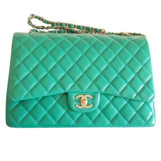 Chanel Turquoise Maxi Double Flap Bag