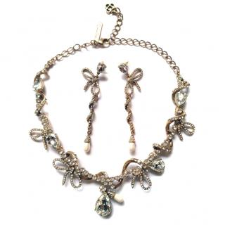 Oscar De La Renta 14k Gold Plated Crystal /Pearl Necklace & Earrings