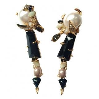 Alexis Bittar Crystal & Pearl Embellished Clip-On Earrings