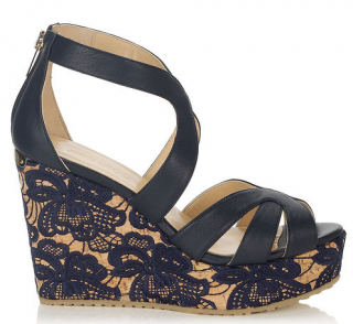 Jimmy Choo 100m Navy Perry Wedge Sandals