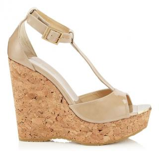Jimmy Choo Nude Patent Leather Wedge Sandals