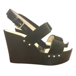 Chanel Velvet Wedge Sandals