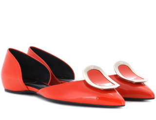 Roger Vivier Chips Orange Leather Ballerinas