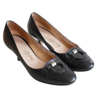 Salvatore Ferragamo Black Kitten Heel Pumps