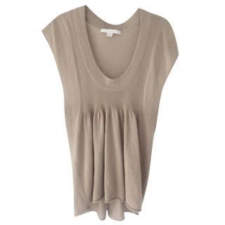 Bamford beige cashmere sleeveless top