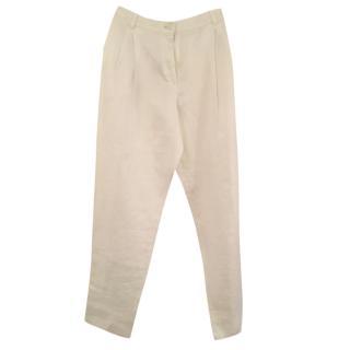 Armani pleated white trousers