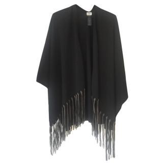 Armani black fringed shawl